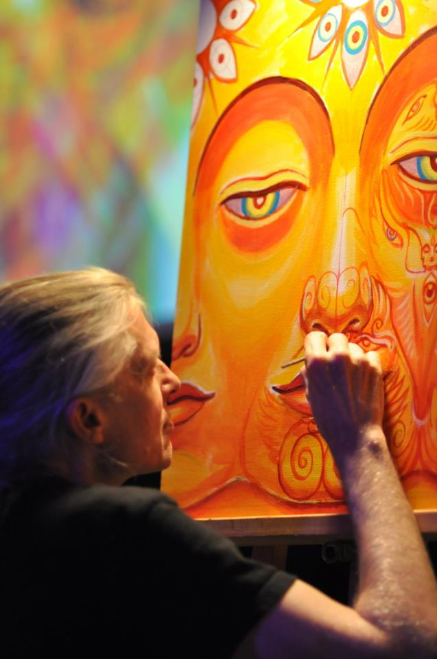 Artist Alex Grey paints live during Moksha Art Fair @ 7Th Circuit Productions